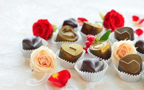 Picture candy, hearts, chocolate