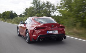 Picture red, movement, coupe, back, Toyota, Supra, the fifth generation, mk5, double, 2019, GR Above, A90, …