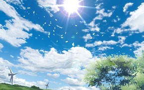 Picture the sky, the sun, nature, windmills