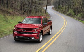 Picture road, red, Chevrolet, pickup, Silverado, 2019, RST
