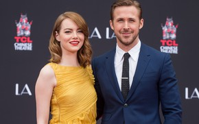 Picture look, girl, smile, dress, male, Emma Stone, Ryan Gosling