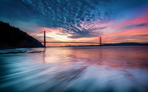 Picture the sky, sunset, bridge, the city, the evening, Bay