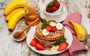 Picture berries, Breakfast, strawberry, honey, bananas, nuts, pancakes, Olena Rudo