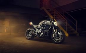 Picture light, garage, headlight, ladder, motorcycle, Ducati, black, moto, wheel, sport bike, Ducati Diavel Carbon
