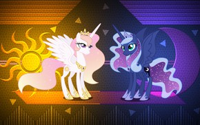 Picture the sun, night, the moon, girls, a month, day, pony, My Little Pony