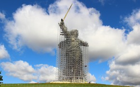 Picture Volgograd, Mamaev Kurgan, Scaffolding, Mamayev Kurgan, Reconstruction of the monument, The Motherland calls, The Motherland …