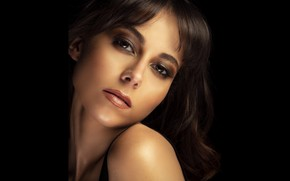 Picture look, face, sweetheart, makeup, brown hair, the dark background