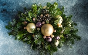 Picture winter, frost, balls, branches, background, holiday, balls, Christmas, New year, needles, bumps, bokeh, Christmas decorations, …