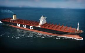 Picture Sea, The ship, Oscar, A container ship, MSC, Vessel, A cargo ship, Container Ship, M/V ...