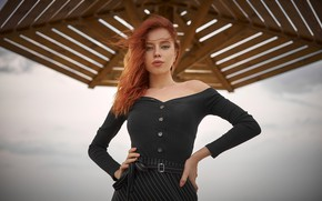Picture look, pose, model, skirt, portrait, makeup, hairstyle, blouse, beauty, redhead, Alexander Kiselev, Ksenia Novitskaya
