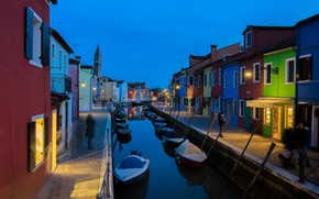 Picture the city, home, boats, the evening, lighting, Italy, Venice, channel, quarter, Burano