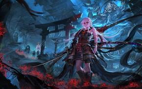 Picture flowers, girls, sword, samurai, pixiv fantasia, stu dts