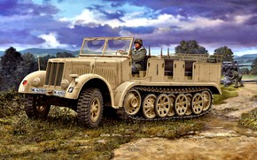 Picture Driver, tractor, German, Sd.Car.7, half-track, The Third Reich, Special motor vehicle 7, anti-aircraft gun