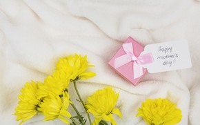 Picture flowers, gift, yellow, tape, congratulations, Mother's day