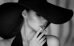 Wallpaper black & white, fashion, dress, hat, style, photo, photographer, monochrome, model, lips, face, b&w, portrait, ...