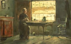 Picture oil, picture, 1903, Johan Hendrik Weissenbruch, Johan Hendrik Weissenbruch, Крестьянский интерьер