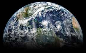 Picture space, planet, Earth, hurricane, continents