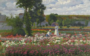 Picture landscape, flowers, picture, In The Garden, Lorand Zubriczky, Lorand Zubritzky