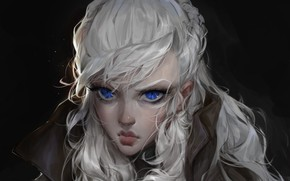 Picture face, blue eyes, portrait of a girl, long white hair, Дарья Кожемякина