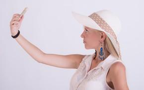 Picture girl, hat, blonde, phone, selfie