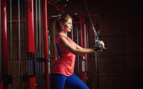 Wallpaper girl, pose, sport, fitness, simulators, gym, Nicolas Verano, Nikolas Verano