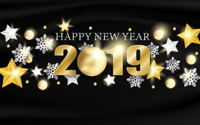 Picture gold, New Year, figures, golden, black background, black, background, stars, New Year, Happy, sparkle