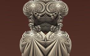 Wallpaper 3D art, goddes, fractal art, weave pattern, divine, korichnevy background