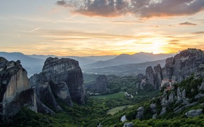 Picture the sky, the sun, clouds, light, sunset, mountains, fog, rock, stones, castle, rocks, the slopes, …