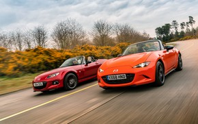 Picture orange, red, Mazda, MX-5, roadsters, fourth generation (ND), third generation (NC)