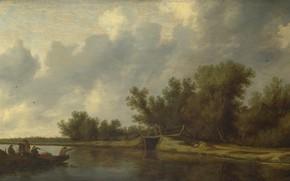 Picture picture, Salomon van Ruysdael, Salomon van Ruisdael, River Landscape with Fishermen