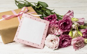 Picture flowers, gift, bouquet, wood, pink, flowers, romantic, eustoma, gift box, eustoma