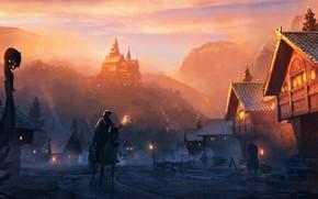 Picture lights, fire, fantasy, twilight, sunset, mountains, people, houses, village, horse, castle, digital art, artwork, fantasy …