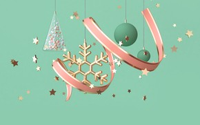Picture rendering, Green, Pink, tape, Snowflakes