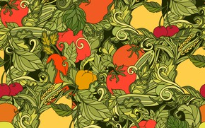 Picture abstraction, background, texture, pattern, fruits, vegetables, Leaves, seamless