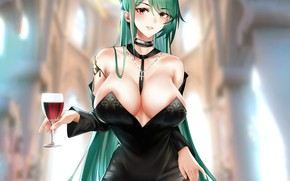 Picture girl, sexy, cleavage, long hair, boobs, anime, beautiful, pretty, erotic, breasts, attractive, handsome, green hair, …