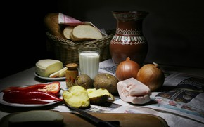 Picture the dark background, food, milk, bow, bread, dishes, pepper, still life, items, lunch, composition, potatoes, …
