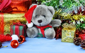 Picture decoration, toys, New Year, Christmas, bear, gifts, Christmas, wood, New Year, teddy bear, decoration, gift …