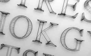 Picture letters, design, font, the volume, times new roman