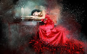 Picture background, candle, dress, table, girl art
