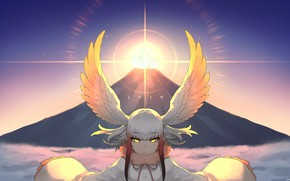 Picture sunset, wings, girl, Kemono Friends