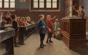 Picture French painter, French painter, oil on canvas, Charles Bertrand Centrage, Concert in the Classroom, The …