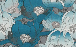 Picture flowers, blue, grey, background, texture, pattern, floral