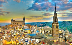 Picture city, HDR, tower, sky, clouds, Spain, castle, buildings, architecture, roofs, cityscape, church, Toledo, Alcazar