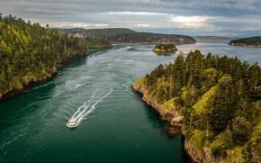 Picture USA, river, lake, ship, pine trees, Washington state, birds eye view, rock forest