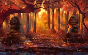 Picture autumn, forest, girl, statues, by Anato Finnstark