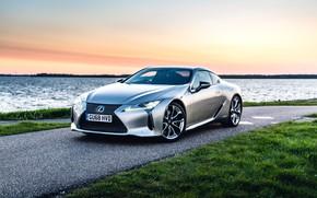 Picture road, auto, sunset, Lexus, 500h
