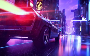 Picture Auto, Road, Music, The city, Machine, Background, Synth, Retrowave, Synthwave, New Retro Wave, Futuresynth, Sintav, ...