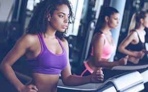 Picture pose, girls, figure, running, fitness, training, simulators, fitness, training