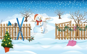Picture winter, the sky, trees, hat, figure, ski, the fence, graphics, vector, scarf, art, Christmas, the …
