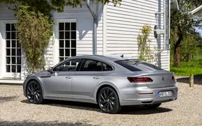 Picture house, Volkswagen, side view, 2018, Elegance, liftback, 2017, Arteon, gray-silver